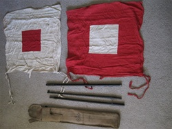 WWII Signal Flag Set, Air Raid Warden Helmet, Gas Mask, Carry Bag, Operators Manual