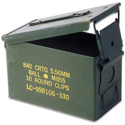 "Ammo Can .50 Caliber 11x7x5.5"" Standard Ammo Can Lever-Lock Lid Steel Flat Folding Carry Handle Stackable"